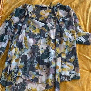 Sheer blouse with gorgeous print! Great for fall